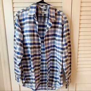 Boden Plaid Gingham Blue Button Up Shirt Sz M